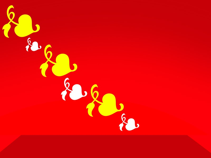 Yellow and White Heart in Red Background